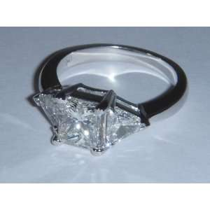 2.75 carat princess cut trilliant diamond ring white gold