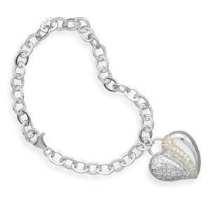 and 14 Karat Gold Plated Sterling Silver Cz Heart Bracelet Jewelry