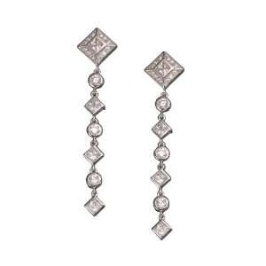CZ. Long Rhodium Plated Sterling Silver Earrings Jewelry