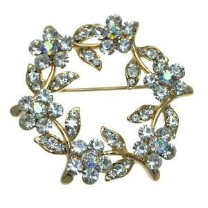 Crystal Bouquet Gold Aurora Borealis Crystal Brooch Jewelry