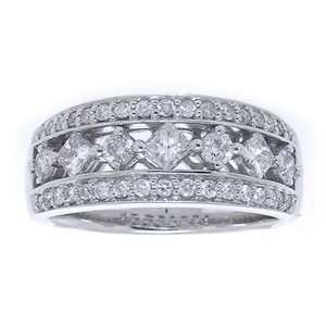 Princess Diamond 14k White Gold Antique Style Wedding Anniversary Ring