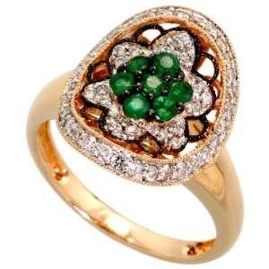 14k Gold Diamond Flower Ring, w/ 0.41 Carat Brilliant Cut Diamonds & 0