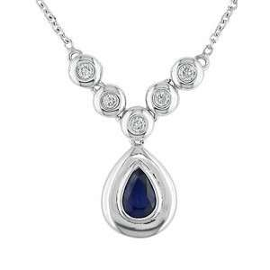 White Gold 1/8 ctw Diamond and Sapphire Tear Drop Necklace Jewelry