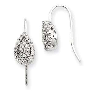14k White Gold Diamond Teardrop Earrings Jewelry