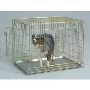 Cage 2   X Two Door Gold Wire Dog Crate Size Large