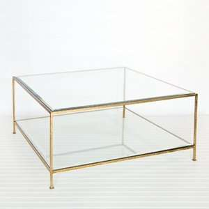 Square Coffee Table, Bev Glass   Hammered Gold Leaf Furniture & Decor