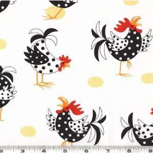 45 Wide Farm Country Chickens White Fabric By The Yard