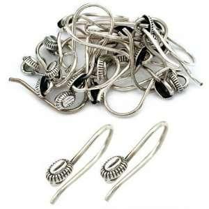 Sterling Silver Bali Bead Fish Hook Earrings Approx 20