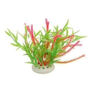 Como Fish Tank Round Ceramic Base Pink Green Plastic Plant