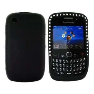 For Blackberry Curve 8520 Silicone Skin Case Gems Black Electronics
