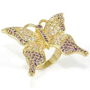 Butterfly Tanzanite Cubic Zirconia Brass Faux Gold Plated Ring AM