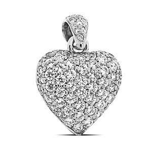 14k White Gold 2.21ct Carat Heart Diamond Pendant E f Si1 Jewelry