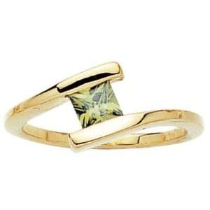 18K Gold Plated Green Cubic Zirconia Square Solitaire Ring