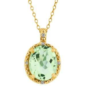 2.70 Ct Green Oval Amethyst and Topaz Yellow Gold Plated