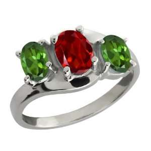 1.70 Ct Oval Red Garnet and Green Tourmaline 14k White