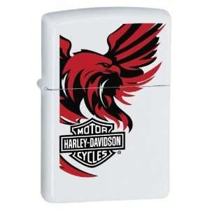 Zippo Harley Davidson Red and Black Lighter (White, 5 1/2