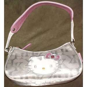 White and Silver Hello Kitty Monogram Purse Toys & Games