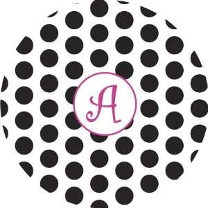 Melamine Plate   Black Polka Dot with Hot Pink Initial