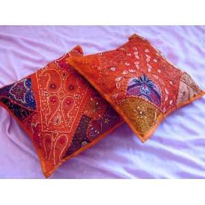 2 INDIAN MOTI ORANGE SARI TRIBAL THROW PILLOW COVERS Home