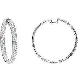 Diamond Inside/Outside Hoop Earrings set in 18 kt White Gold Jewelry
