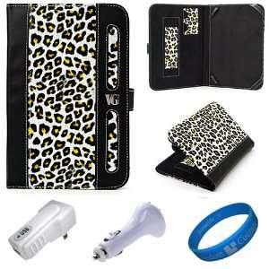 Yellow Leopard Executive Leather Folio Case Cover for  Kindle