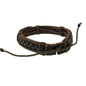 Genuine Brown Leather Bracelet Featuring Studded and Wrapped Accents