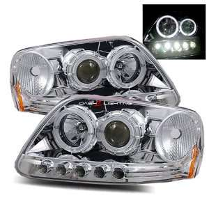 02 Ford Expedition LED Halo Projector Headlights   Chrome Automotive