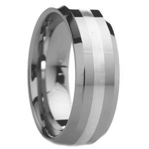 8 mm Mens Tungsten Carbide Rings Wedding Bands Beveled