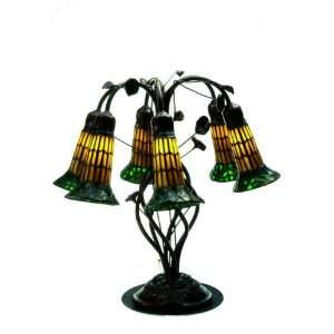 19H Tiffany Pond Lily Amber And Green Accent Lamp: Home