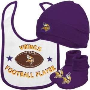 Minnesota Vikings NFL Newborn Creeper, Bib & Hat Set