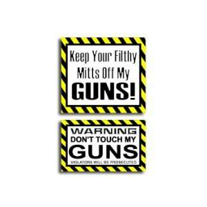 Hands Mitts Off GUNS   Funny Decal Sticker Set Automotive