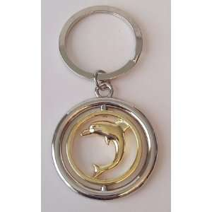 Silver & Gold Tone Metal Rotating Dolphin KEY Chain