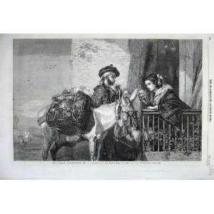 1860 Spanish Flower Seller Donkey Basket Woman Man