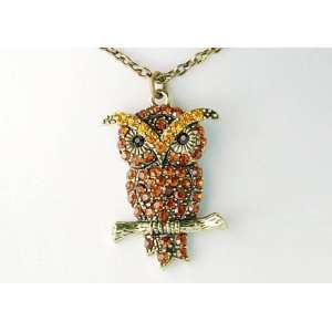Topaz Crystal Rhinestone Hooting Owl Fancy Pendant Necklace Jewelry