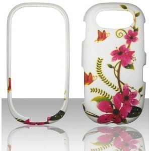 Pink Flowers Pantech Ease P2020 Hard Snap on Rubberized Touch Phone