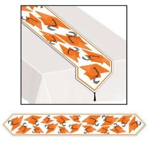 Lets Party By Beistle Company Orange Grad Cap Graduation Table Runner