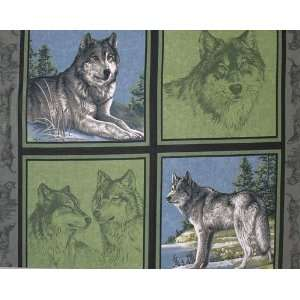 45 Wide Wildlife Wolf Pillow Panel Green Fabric By The