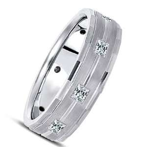 14 Karat White Gold Diamond Wedding Ring with 8 Princess Cut diamonds