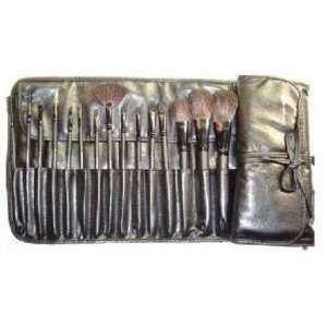 15 pieces professional brush set + leather pouch Beauty