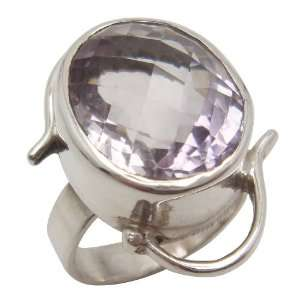 Sterling Silver Faceted Amethyst Quartz Ring, Size 5 Jewelry