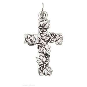 Sterling Silver Branch Leaf Christian Religious Cross Charm Jewelry