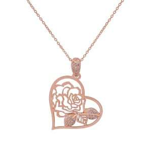 Rose Gold Plated Sterling Silver Cubic Zirconia Open Heart and Flower