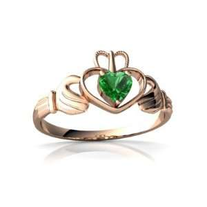 Rose Gold Heart Created Emerald Celtic Claddagh Ring Size 8.5 Jewelry