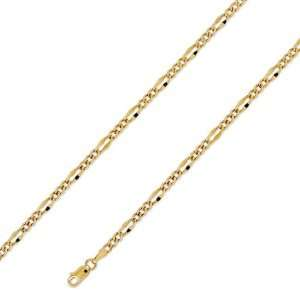 14K Solid Yellow Gold Stamped Figaro Chain Necklace 3.5mm