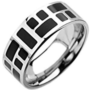 Size 9  Spikes 316L Stainless Steel Black Mosaic Ring