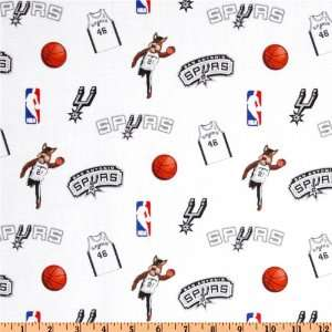 Wide NBA Cotton Broadcloth San Antonio Spurs White Fabric By The Yard