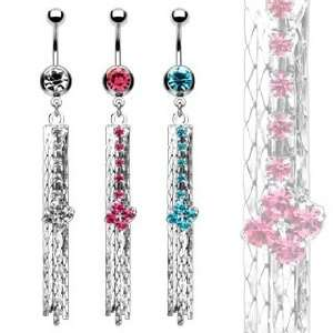 316L Surgical Steel Single Belly Ring with Aqua Diamond Shape Multi