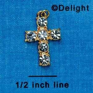 Stone Swarovski Crystal Cross   Gold Plated Charm