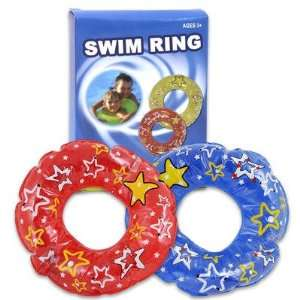 Plastic Inflatable Swim Ring with Print   Assorted Color Toys & Games