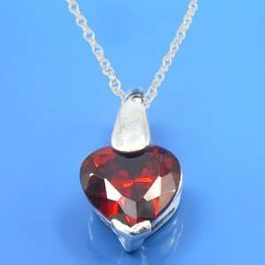 1.59 Grams 925 Sterling Silver Heart Symbol Cz Garnet